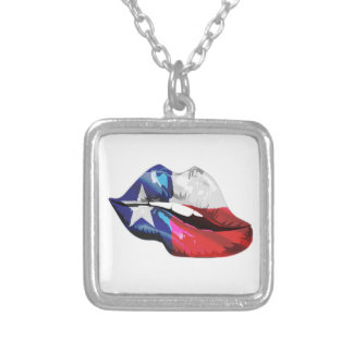Texas Flag Lips Silver Plated Necklace