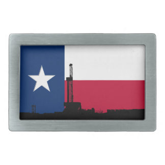 Texas Flag Oil Drilling Rig Rectangular Belt Buckle