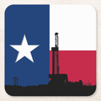 Texas Flag Oil Drilling Rig Square Paper Coaster