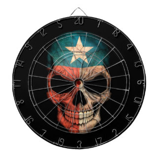 Texas Flag Skull on Black Dartboard