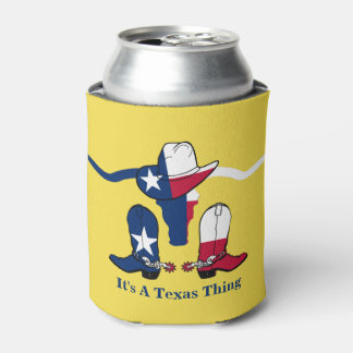 Texas Flag Steer Head With Cowboy Hat and Boots Can Cooler