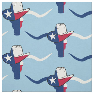Texas Flag Steer Head With Cowboy Hat Fabric