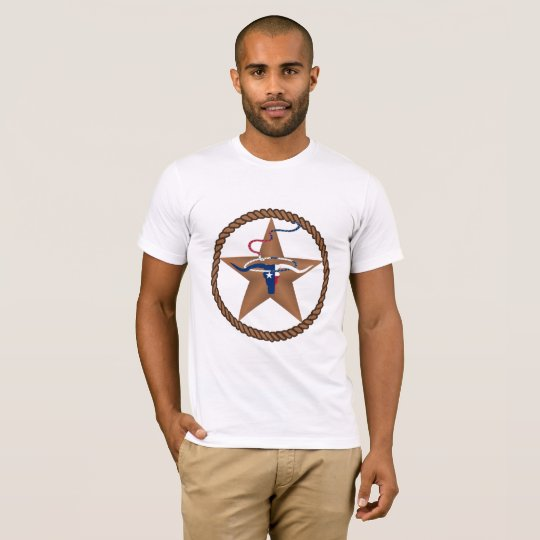 Texas Flag Steer Head With Rope And Star T-Shirt
