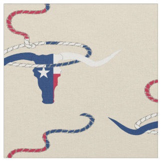 Texas Flag Steer Head With Rope on lt tan fabric