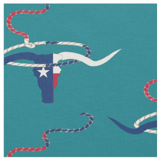 Texas Flag Steer Head With Rope on lt tan fabric