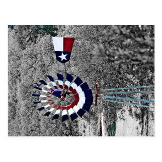 Texas Flag Windmill near Johnson City, TX Postcard