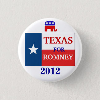 Texas  for Romney 2012 1 Inch Round Button