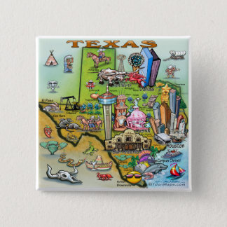 Texas Fun Map 2 Inch Square Button