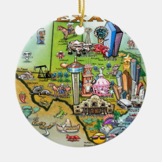 Texas Fun Map Ceramic Ornament
