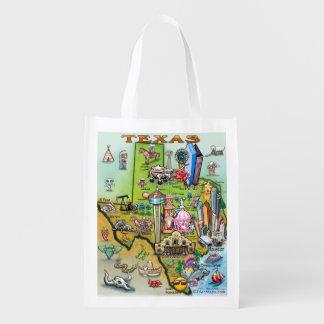 Texas Fun Map Grocery Bags