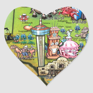 Texas Fun Map Heart Sticker