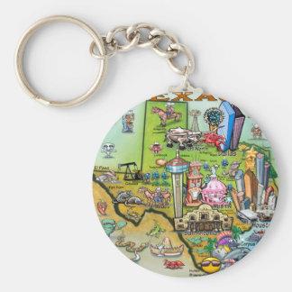 Texas Fun Map Keychain
