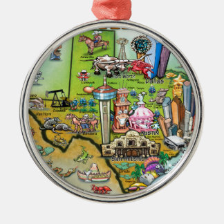 Texas Fun Map Metal Ornament
