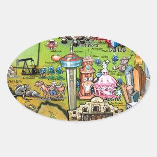 Texas Fun Map Oval Sticker