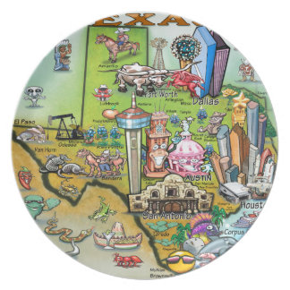 Texas Fun Map Party Plate
