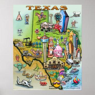 Texas Fun Map Poster