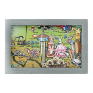 Texas Fun Map Rectangular Belt Buckle