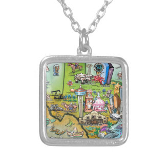 Texas Fun Map Silver Plated Necklace