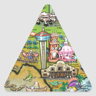 Texas Fun Map Triangle Sticker