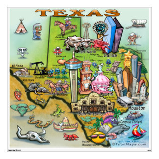 Texas Fun Map Wall Decal