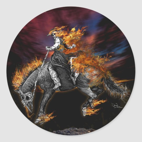 Texas Ghost Rider Classic Round Sticker