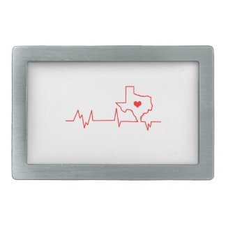 Texas Heart beat Rectangular Belt Buckles