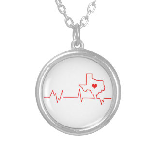 Texas Heart beat Silver Plated Necklace