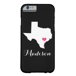 Texas Heart Black Custom Monogram Barely There iPhone 6 Case