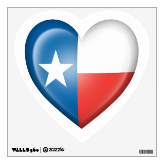 Texas Heart Flag on White Wall Decal