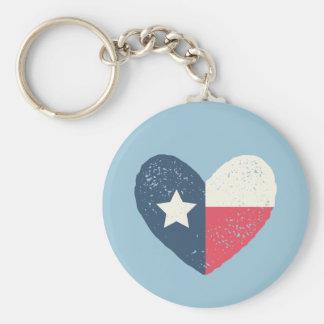Texas Heart Flag Round Keychain