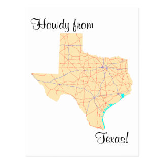 Texas Highways Map Postcards