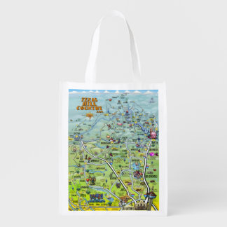 Texas Hill Country 2014 Cartoon Map Reusable Grocery Bag