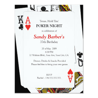 Texas Hold 'Em Poker Night - Party Invitation