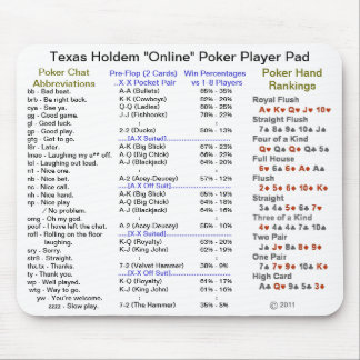 """Texas Holdem """"Online"""" Poker Player Pad Mouse Pad"""