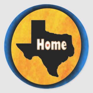 Texas:  Home. Classic Round Sticker