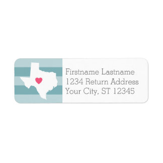 Texas Home State Love Wedding with Custom Heart Return Address Label