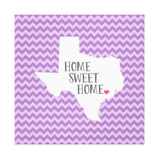Texas Home Sweet Home Modern Chevron Stretched Canvas Print
