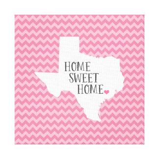 Texas Home Sweet Home Modern Chevron Gallery Wrap Canvas
