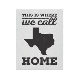Texas Home Wall Art - Black Canvas Print