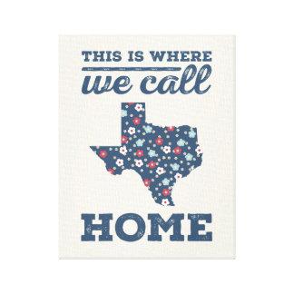 Texas Home Wall Art - Blue Floral Canvas Print