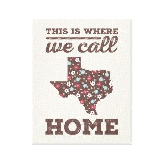 Texas Home Wall Art - Brown Floral Canvas Print