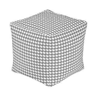 Texas Houndstooth!  Gray & White Pouf