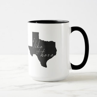 Texas I Like It Here State Silhouette Black Mug