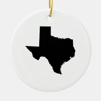 Texas in Black and White Round Ceramic Ornament