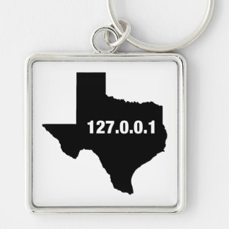 Texas Is Home Programmer Silver-Colored Square Keychain