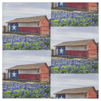 "Texas Landscape Barn With Bluebonnets 4.5"" Block Fabric"