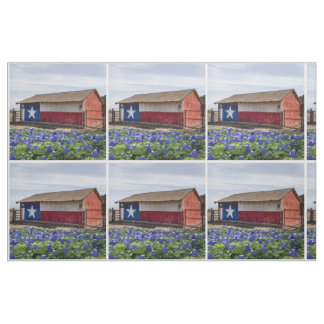 Texas Landscape Barn With Bluebonnets Fabric