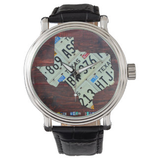 Texas License Plate Map Wrist Watch