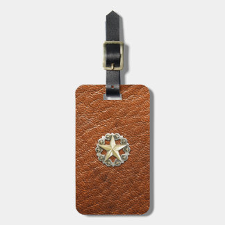 Texas Lone Star Concho on Brown Leather look Luggage Tag
