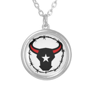 Texas Longhorn Barbed Wire Icon Silver Plated Necklace
